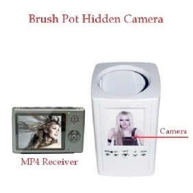 Wholesale 2.4GHz FM Wireless Hidden Camera Brush Pot Spy Camera With Portable Receiver