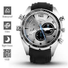 Wholesale 1080P HD IR Night Vision Waterproof Spy Watch 16GB