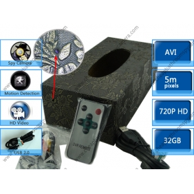 Wholesale High Quality Motion Detection Tissue Box Covert Spy Camera AV OUT 32GB 1280X720 LCD Display