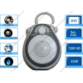 Wholesale 32GB AM FM Shower Radio Hidden HD Pinhole Spy Camera DVR 1280X720 Motion Activated