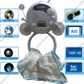 Wholesale Bathroom LCD Radio Motion Activated 720P HD Hidden Spy Camera DVR 16GB Remote Control