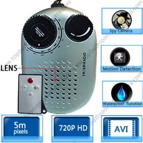 Wholesale Waterproof Spy Radio Camera Hidden Bathroom Spy Camera DVR 16GB with Motion Detector