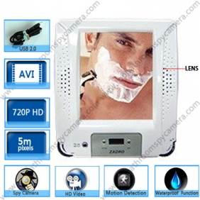 Wholesale Fogless Shower Stereo Radio with Mirror & Clock & HD Bathroom Spy Camera 720P 16GB