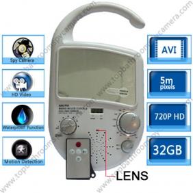 Wholesale Shower Mirror Radio HD Bathroom Spy Cams Motion Detection DVR 32GB 720P Remote Control ON/OFF
