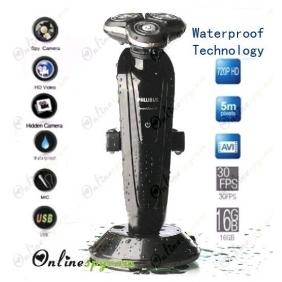 Wholesale 1280X720 HD Waterproof Technology  Shaver Spy Camera DVR For Bathroom with 16GB internal Memory