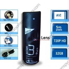 Wholesale 1280X720 Black Men\'s Fragrance Hidden HD Bathroom Spy Camera DVR 32GB