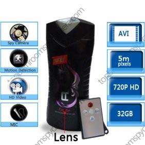 Wholesale HD Bathroom MEN\'S Shampoo Bottle Spy Camera Motion Detection Spy Camera 720P DVR 32GB  Remote Control