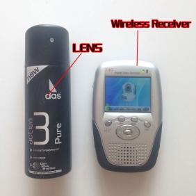 Wholesale Men\'s Body Spray Bottle Wireless Bathroom Pinhole Spy Camera 2.4GHz with Portable Receiver-Increase Receive Distance