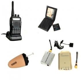 Wholesale 1.2GHz Wireless Button Camera and 3W Receiver with Walkie Talkie and Spy Ear Piece