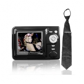 Wholesale Wireless Spy Tie Camera with Wireless MP4 Player Receiver Hidden Camera