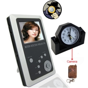 Wholesale 2.5 Inch TFT LCD 2.5GHz Motion Detection Wireless DVR Baby Monitor Kit and Remote Control Clock Camera Kit