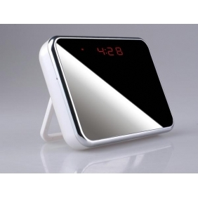 Wholesale 24hours Working Spy Clock Camera With Undetectable Lens Hidden Behind The Mirror 16GB Motion Activated(white)
