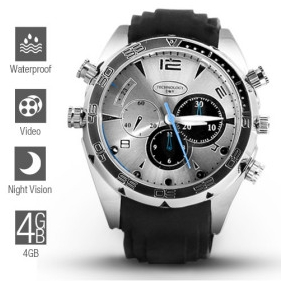 Wholesale 1080P HD IR Night Vision Waterproof Spy Watch (4GB)