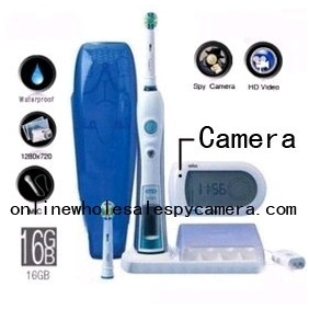 Wholesale Intelligent 3D Electric Toothbrush Hidden Bathroom Spy Camera HD DVR 16GB 1280X720