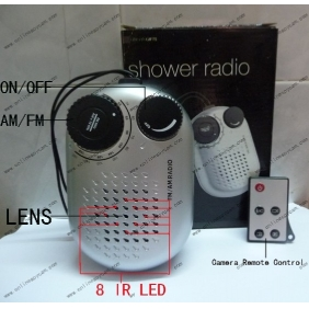 Wholesale Remote Control 8 LED HD Night Vision Bathroom Radio Spy Camera DVR Motion Activated 16GB 1280x720P
